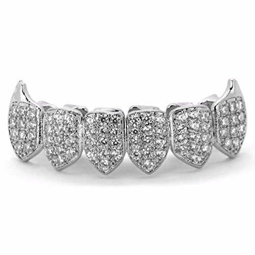 TOPGRILLZ 18k Gold Plated Iced Out Rhinestone Micropave CZ Lower Bottom Grillz Set with 2 Extra Molding Bars (Vmapire Silver)