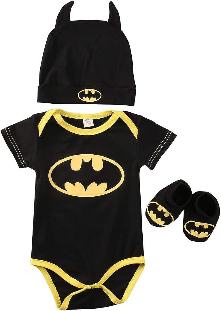 Conjunto de 3 piezas de disfraz de Batman para bebé, niña, Halloween, cosplay, Halloween, sombrero, zapatos, unisex, para bebé, regalo para niños y niñas, traje todo en uno de Batman