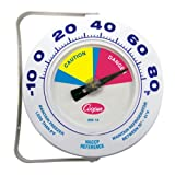 Cooper-Atkins 255-14-1 Bi-Metal HACCP Refrigerator and Freezer Thermometer, 6'' Dial Size, -10 to 80 degrees F Temperature Range