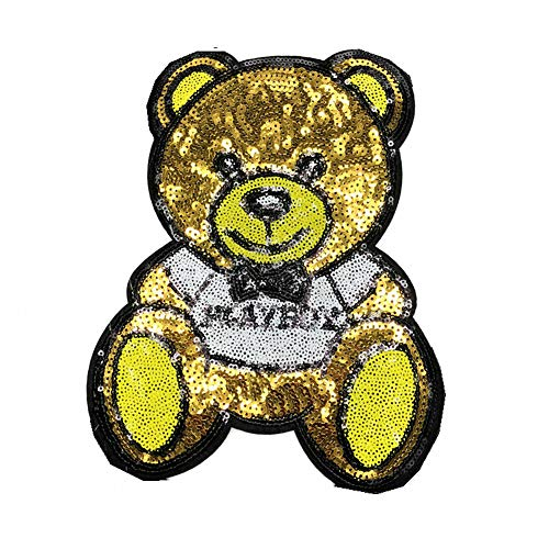 Cartoon Panda Bear Animal Patch Sequin Iron On Patches for Clothes Stripe Fashion Fabric Patch Badge DIY Sticker Jacket (Color 2)