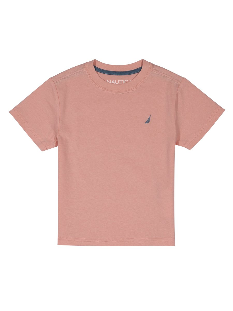 Nautica Boys' Short Sleeve Solid Crew-Neck T-Shirt, Coast Peach, 4