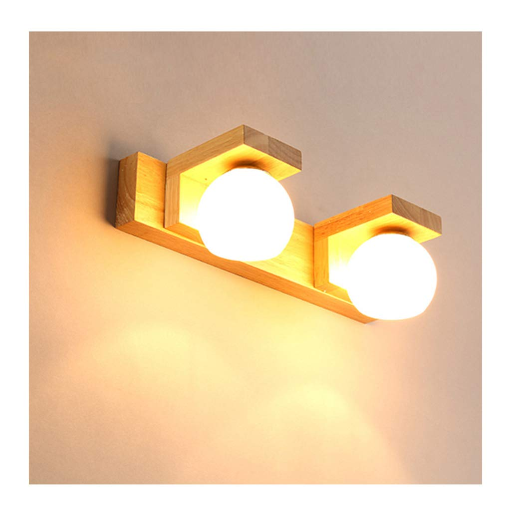 &Badezimmerbeleuchtung Badezimmerspiegel-vorderlicht Led, Moderne Wasserdichte Anti-fog Massivholz Beleuchtung Schminktischlampe Badezimmerspiegel Lampe Licht (Farbe   weißes Licht-Two head)