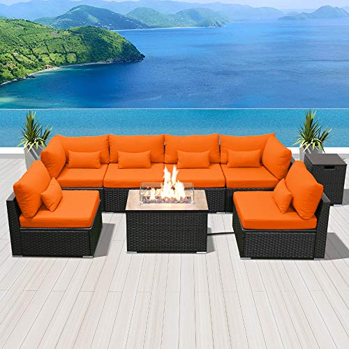 Modenzi Outdoor Sectional Patio Furniture with Propane Fire Pit Table Espresso Brown Wicker Resin Garden Conversation Sofa Set (G7 Sofa Rectangular Fire Pit, Orange)