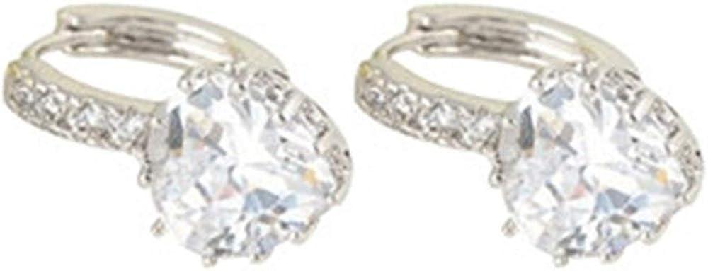 Tasquite Pendientes Corazón Encantador for Mujer - Pendientes de aro con diseño de Diamantes de imitación de Cristal Blanco