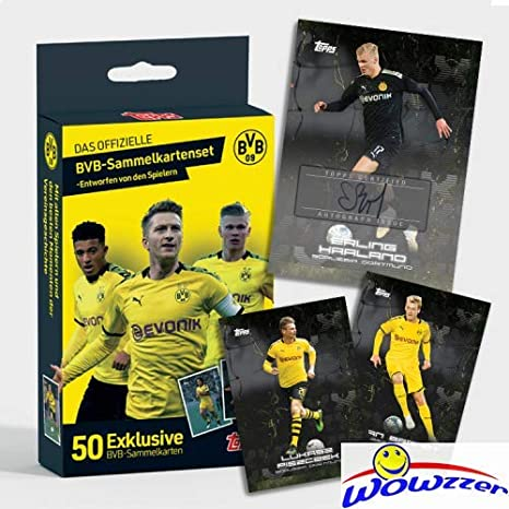 Amazon Com 2020 Topps Bvb Borussia Dortmund Factory Sealed 50 Card Curated Box Set With Erling Haaland Jordan Sancho Giovanni Reyna More Look For Autos Of Haalen Sancho Selling For Up