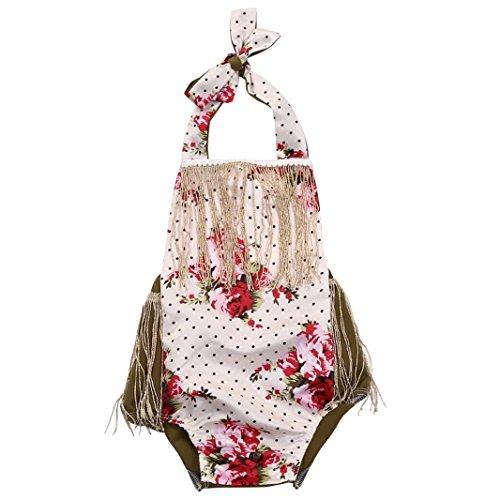 Teresamoon Girls Floral Tassel Occident Sleeveless Romper (Tassel Vase)