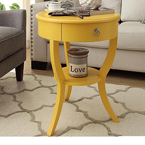 Single Piece Yellow Contemporary Modern Tripod Round Wood Accent Table whimsical charm, Solid Wood glides compact,storage space