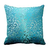 Decors Teal Damask Look Throw Pillow Case Cushion Cover Home Sofa Decorative 16 X 16 Squares (Twin Sides)