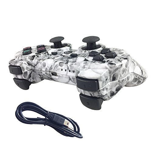 Nesada Wireless Bluetooth Controller For PS3 Double Shock (White Skull)