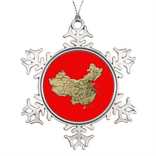 Snowflake China Ornament (Cheyan Xmas Trees Decorated China Map Christmas Personalized Snowflake Ornaments)
