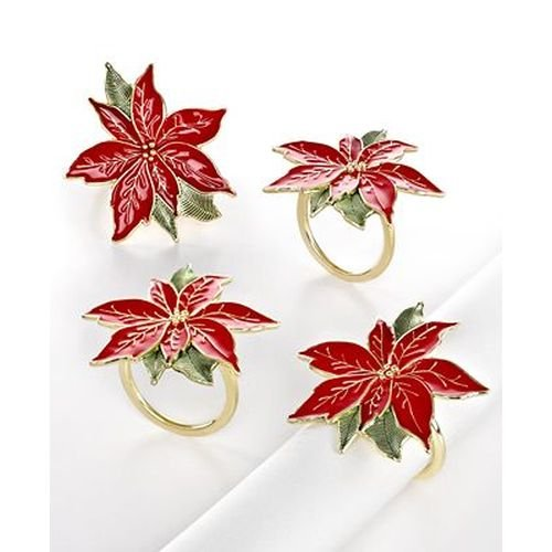 Lenox Poinsettia Napkin Rings Set of 4 (Lenox Napkin Ring)