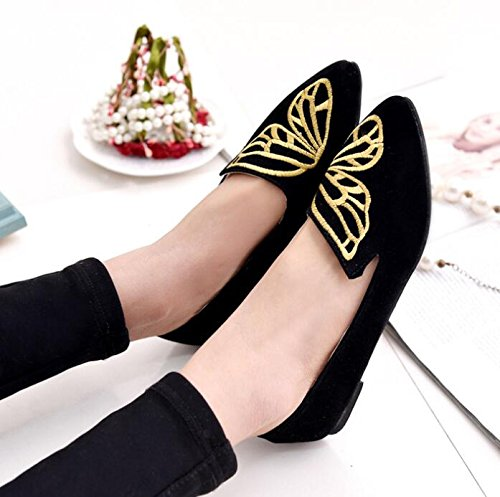 Black Butterfly Flexible Occasionnels Slippers Shoes Flat greatestpak lianji Embroidered Suede RIUBSz