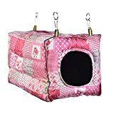 Small Animals Hanging Bed Toy for Guinea Pig Ferret Hamster Hammock Cozy Warm Hut Hook Design Cube Cotton House Cage for by Awtang Pink
