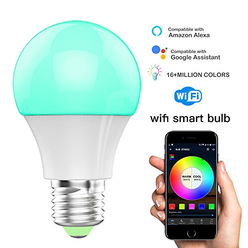 Led Wifi Smart Lights Bulb  Compatible With Alexa And Google Assistant And Ifttt 4 5W  40W Equivalent  E27 A19 Rgbw Edison Bulb  No Hub Required  Music Mode Sunrise  Sunset Mode