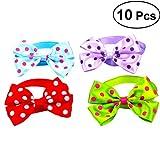 POPETPOP 10Pcs Polka Dots Cat Dog Bowties Collar, Adjustable Pet Bow Ties, Puppy Kitten Festival Neckties Grooming Accessories (Mixed Color)
