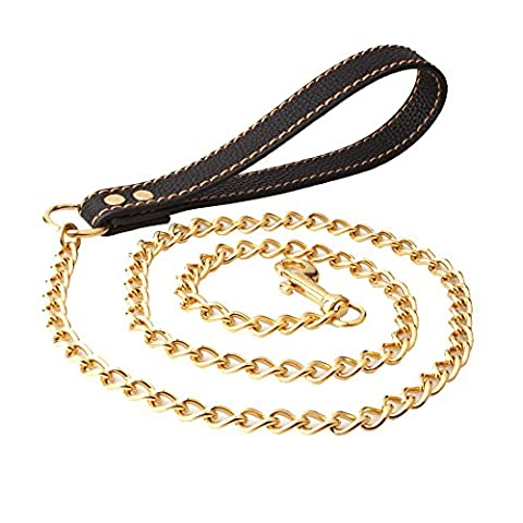 52 inch Long Stainless Steel Curb Chain Pet Dog Leash,Black/Brown Leather Dog Chain Traction Rope For Large Medium Small Size Dogs Pets Handle Pet Supplies (Gold (Gold Chain For Dog)
