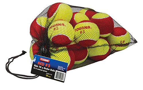 TOURNA Low Compression Stage 3 Tennis Ball with Mesh Bag ()
