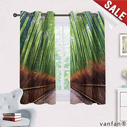 Big datastore House Decor Collection Curtain Blackout Liner,Path to Bamboo Forest Arashiyama Kyoto Japan Japanese Famous Landscape Image Nature Decor,Green Peru W72 x L45 (Kyoto Glider)