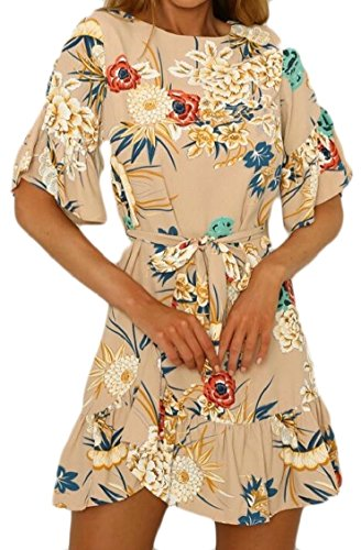 O Neck Mini Women's Irregular Khaki Dress Jaycargogo Ruffle Floral Print Sleeve Sexy Short IOtvSwq