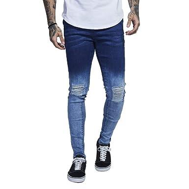 HX fashion Pantaloni da Uomo Slim Fit in Denim da Taglie