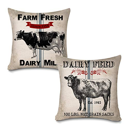 Faromily Vintage Farmhouse Dairy Cow Throw Pillow Covers Retro Farm Fresh Dairy Milk Feed Sacks Home Décor Cotton Linen Throw Pillow Case Cushion Cover 18