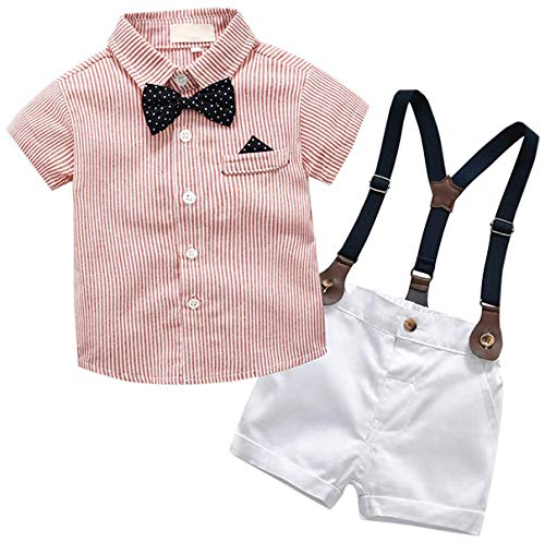 Baby Boys Dress Clothes, Toddlers Short Sleeves Button Down Dress Shirt with Bowtie + Suspender Shorts Set Summer Gentlemen Outfit, Red, 6-12 Months/Tag -