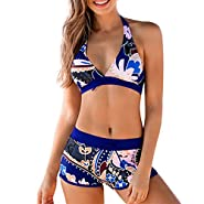 RAINED-Womens Halter Bikini Set with Boyshort Push Up 2 Piece Swimsuit Printed Bathing Suit Athletic Sporty Swimwear