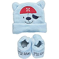 "Sweet & Soft Baby Boys' ""Pirate"" Hat & Booties Set - blue, 0 - 6 months"