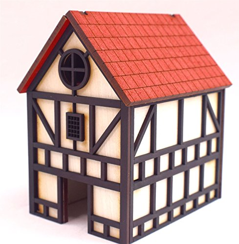 War World Gaming Medieval Town Two Storey House (Painted / unpainted) -  28mm Wargaming Terrain Model Diorama