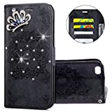 IKASEFU iPhone 6,iPhone 6s Case,3D Clear Crown Rhinestone Diamond Bling Glitter Wallet with Card Holder Emboss Mandala Floral Pu Leather Magnetic Flip Protective Cover for iPhone 6/6S 4.7 inch,Black