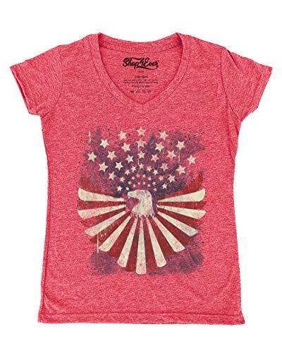 Shop4Ever USA Flag Bald Eagle Women's V-Neck T-Shirt 4th of July Shirts Large Heather Red13534
