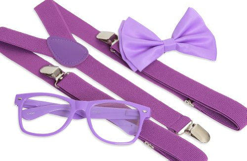 [Gravity Trends Hipster Nerd Outfit Kit, Purple] (Halloween Nerd Accessories)