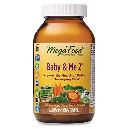 MegaFood, Baby & Me 2, Prenatal and Postnatal Vitamin with Active Form of Folic Acid, Iron, Choline, Non-GMO, 120…