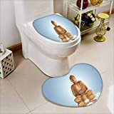 Soft Toilet Mat 2 Pieces Set Statue in Meditation Lotus Lilly Flowers Reflection on Water Eastern Tranquility Blue Machine-Washable