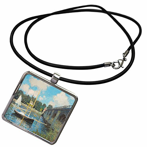 (3dRose TDSwhite – Miscellaneous Photography - Bridge Painting Claude Monet Fine Art - Necklace With Rectangle Pendant)