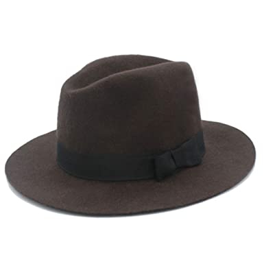 Fedora Hat for Elegant Women Wool Wide Brim Floppy Felt Trilby Ladies  Winter Auturmn Church Hat dd64622fd73c