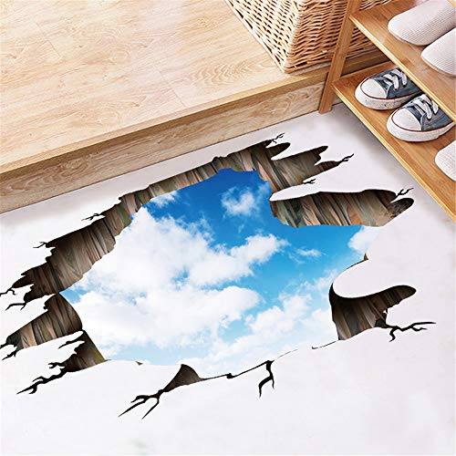 Creative 3D Space Wall Decals - Removable PVC Blue Sky and White Clouds Stickers Murals Wallpaper Art Decor for Home Walls Ceiling Boys Room Kids Bedroom Nursery School -