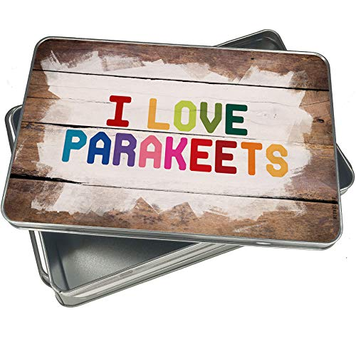 NEONBLOND Cookie Box I Love Parakeets,Colorful Christmas Metal Container