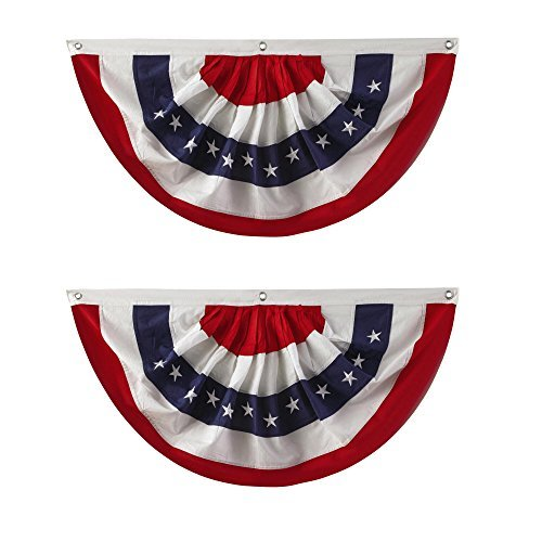 Nantucket Home Traditional Red, White and Blue Buntings, 40-Inch x 20-Inch, Set of 2]()