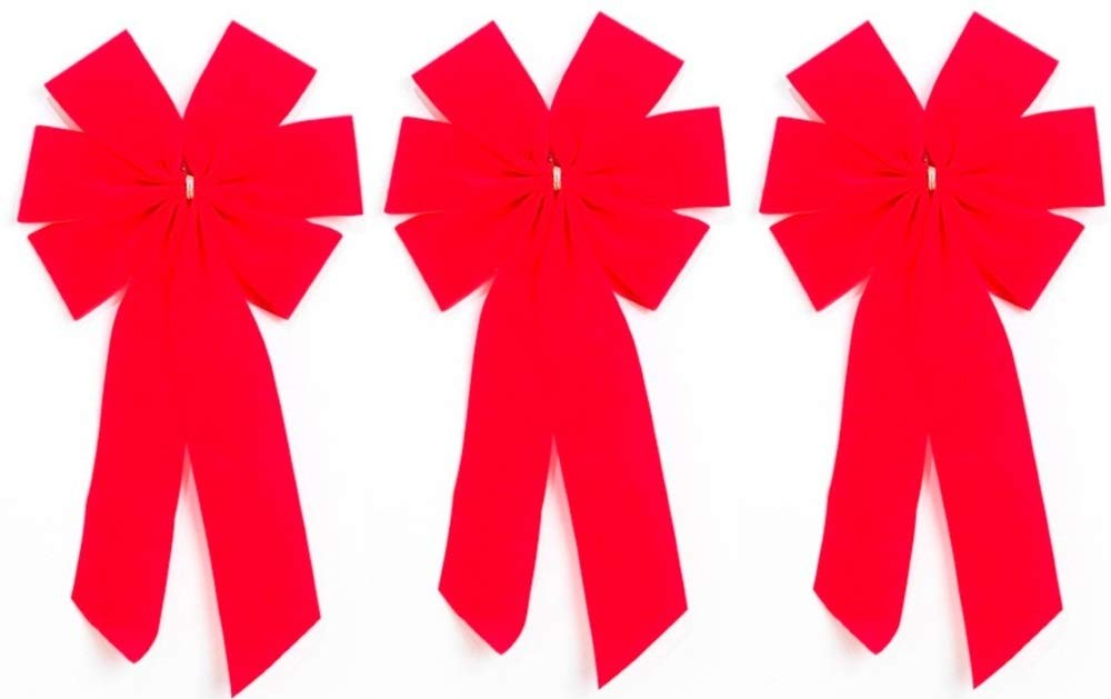 Red Velvet Outdoor Christmas Bows by Independence Bunting. 2-Pack! 6 Loop - 9' Bow & 12' Tail. Gold Metallic Wired Purl Edge with Fancy Gold Smocking Design. Independence Bunting and Flag