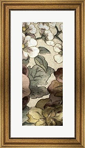 Great Art Now Earthtone Floral Panel III by Catherine Kohnke Framed Art Print Wall Picture, Wide Gold Frame, 16 x 28 - Floral Panel Earthtone