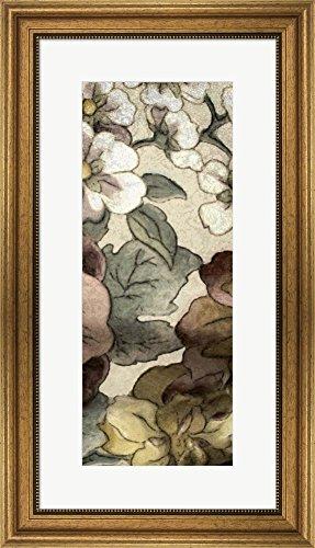 Great Art Now Earthtone Floral Panel III by Catherine Kohnke Framed Art Print Wall Picture, Wide Gold Frame, 16 x 28 - Floral Earthtone Panel