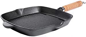 l.e.i. Cast Iron Grill pan,Square pan,with Steak Clip Oil Brush Easy Drainage of Grease,Restaurant Chef Quality,for Grilling Meat Fish fritters omelettes Risotto