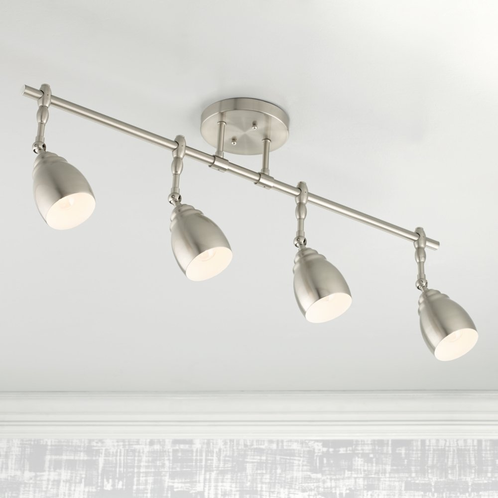 Pro Track Elm Park Collection Brushed Steel Light Fixture - Brushed steel kitchen ceiling lights
