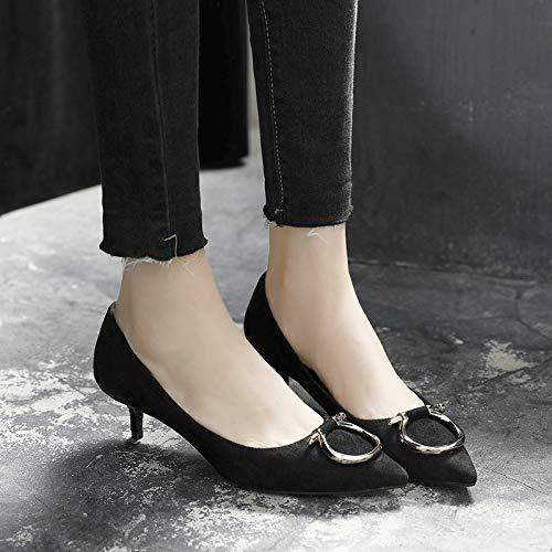 HRCxue Pumps Katze mit High Heels 3cm schwarz High High High Heels Damen Profi-Spitze kurz mit einzelnen Schuhen Damen Stilett 2ec601
