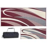 Ming's Mark Stylish Camping GC5 Burgundy/Black 8-Feet x 20-Feet Graphic Reversible Mat