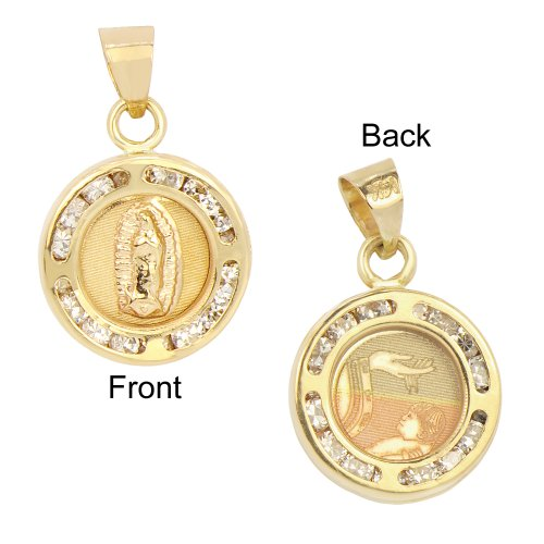 necklace cz jewelry gold yellow reversible baptism mini com created religious dp medallion virgin mary crystals amazon laser pendant