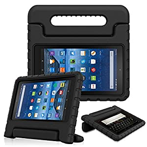 Fintie Shock Proof Case for All-New Amazon Fire 7 Tablet (7th Gen, 2017) - Kiddie Series Light Weight Convertible Handle Stand Kids Friendly Cover, compatible with Fire 7 (5th Gen, 2015), Black