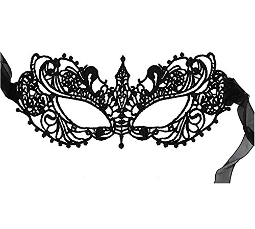 DivaCat Women's Lace Eye Mask For Masquerade Party Prom Ball Halloween (One Size, Black Ana)