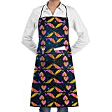 Love Colorful Narwal Cooking Kitchen Aprons With Pockets Bib Apron For Cooking, Baking, Crafting, Gardening, BBQ